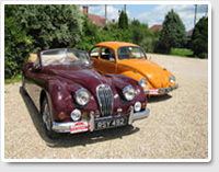 Jaguar XK 140 DHC and Volkswagen Beetle